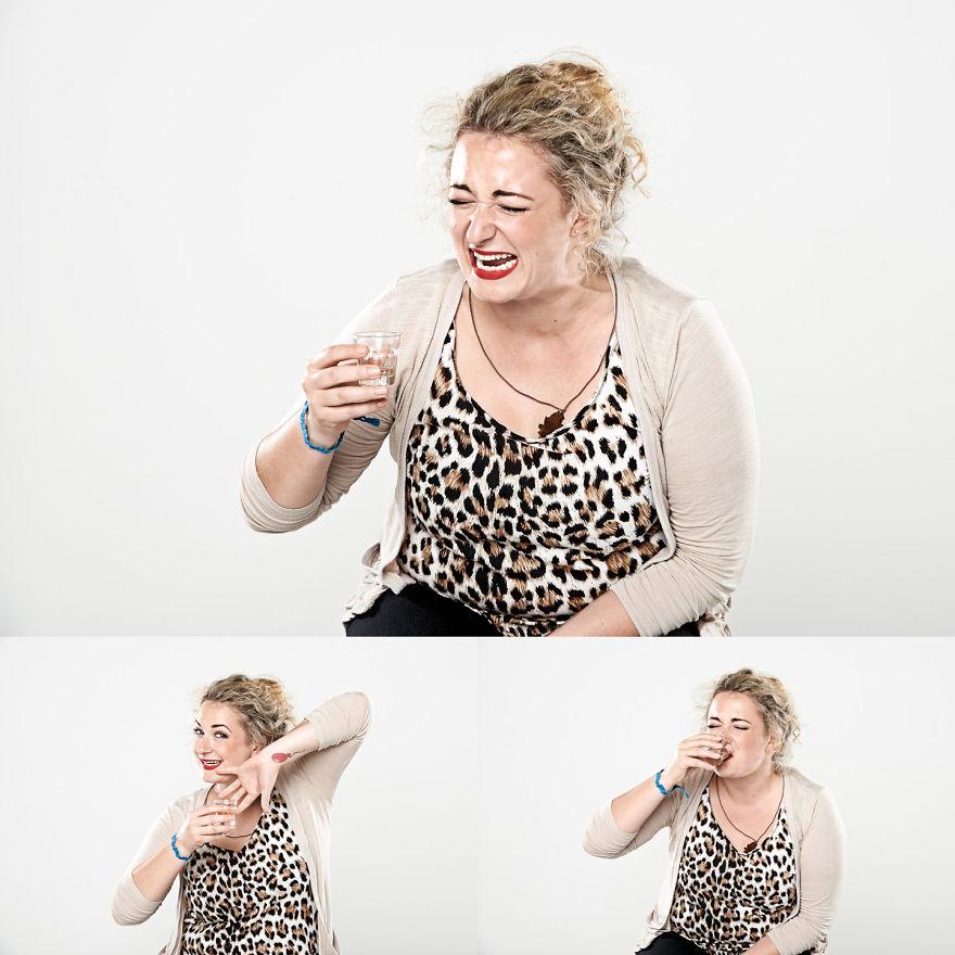 Лица выпивающих стопку