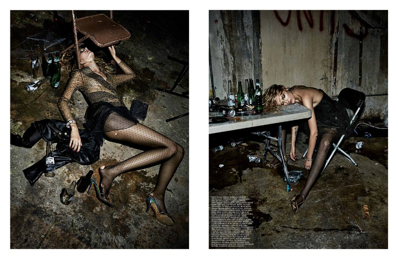 Модная фотосессия в грязном подвале