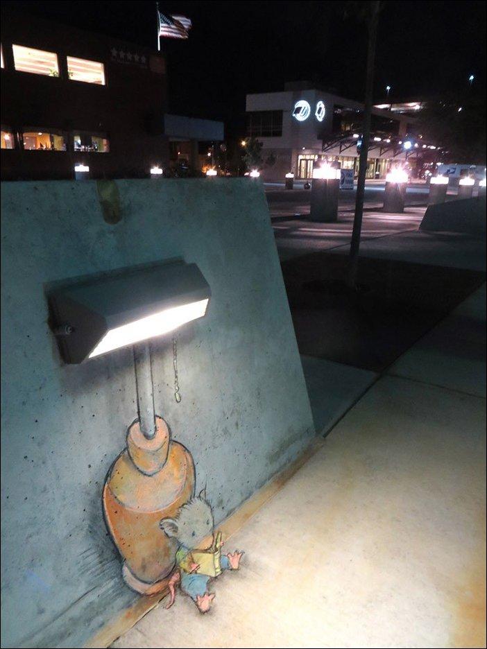 Рисованные зверюшки в городе