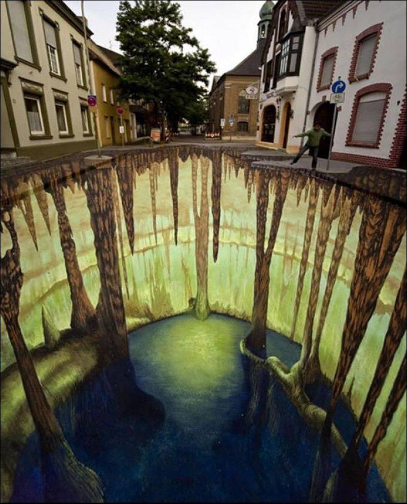 Удивительные объемные рисунки на асфальте