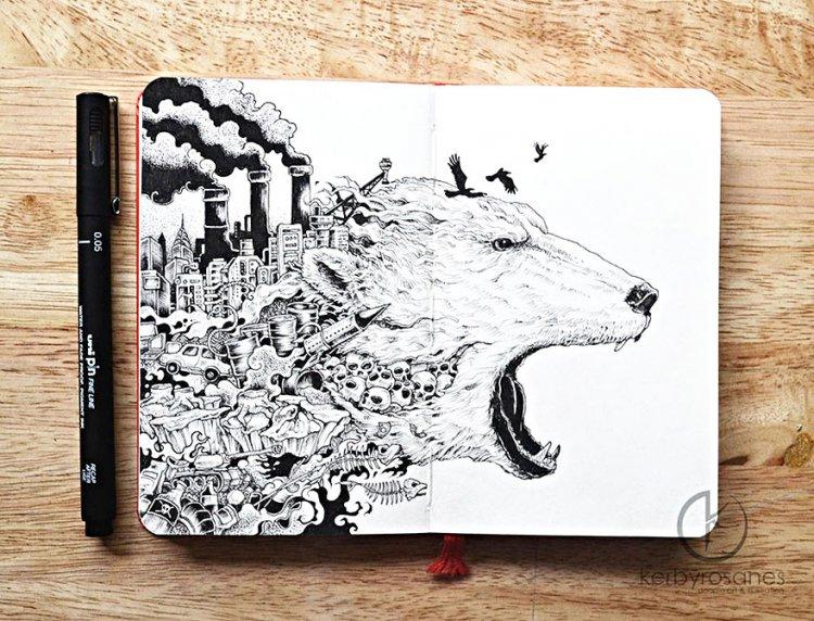 Детализированные рисунки ручкой от Керби Розанеса