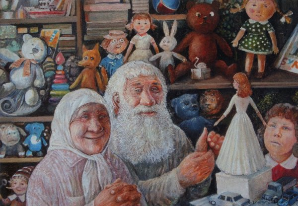 Улыбающиеся старики на картинах Леонида Баранова