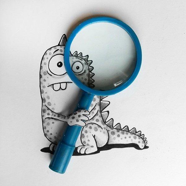 Забавные персонажи, взаимодействующие с реальными предметами