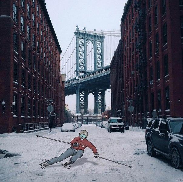 Иллюстрации на фотографиях Нью-Йорка