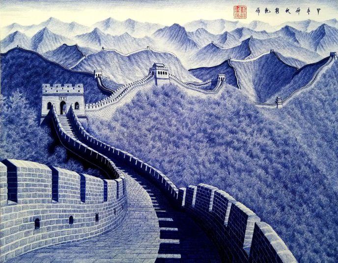 Рисунки шариковой ручкой от китайского художника