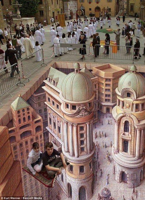 Впечатляющие 3D рисунки на асфальте