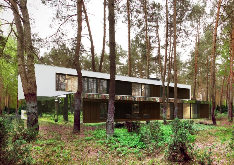 Зеркальный дом в лесу