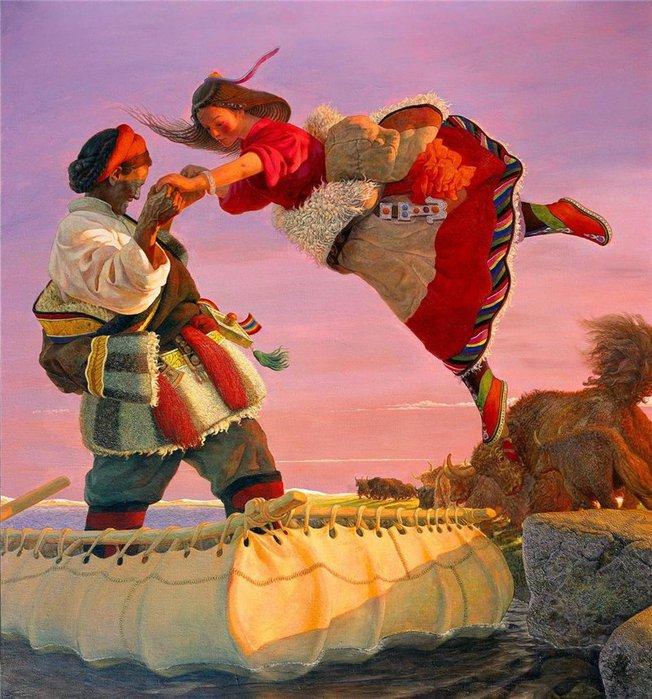 Китайский художник Ван Игуан, рисующий девушек и яков