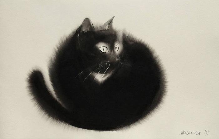 Акварельные коты от сербского художника Эндре Пеновак