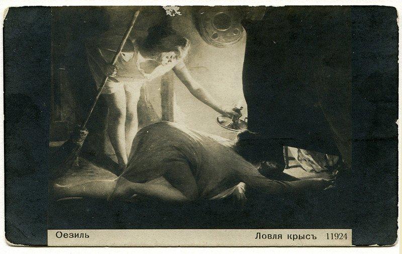 Необычные сюжеты на старых открытках