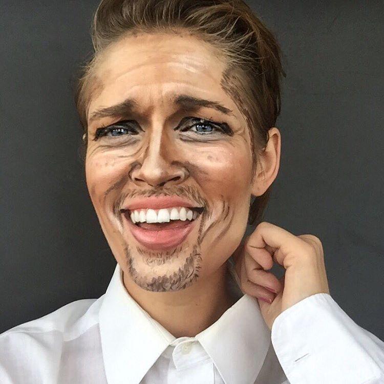 Ребекка Свифт перевоплощается в голливудских знаменитостей при помощи макияжа