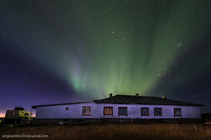 Впечатляющее северное сияние на Чукотке