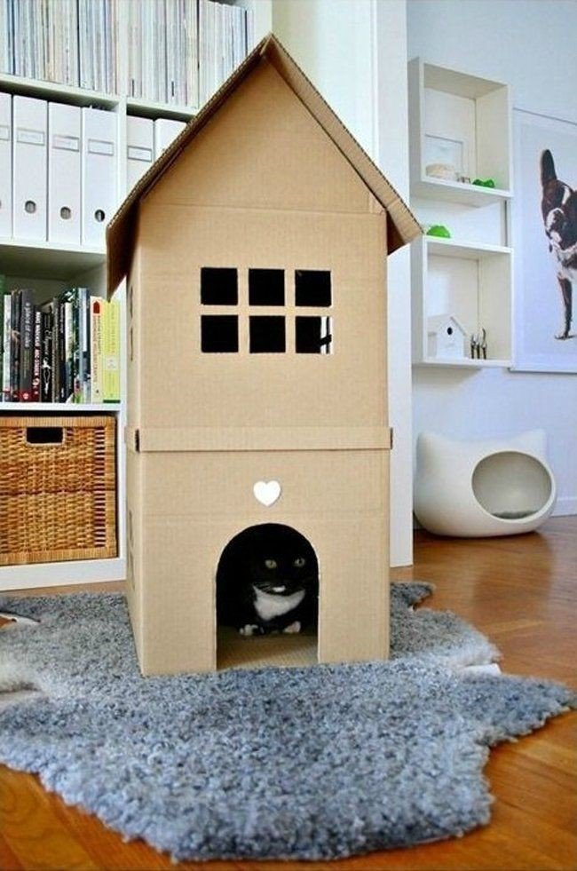 Кошкин дом своими руками из картона
