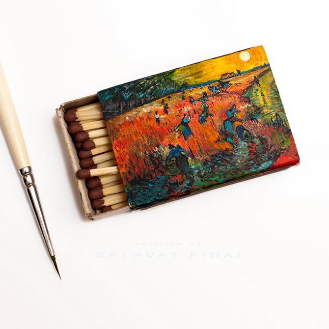 Миниатюрные картины Ван Гога наспичечных коробках