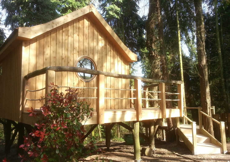 Деревянный дом-скворечник посреди леса в Англии