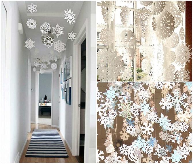 12 идей, чтобы украсить дом бумажными снежинками