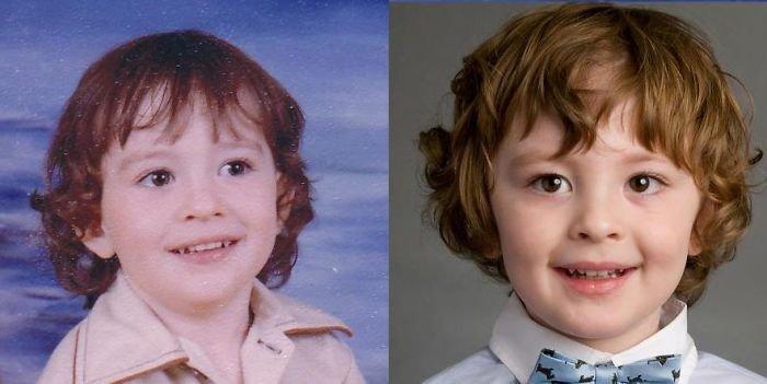 Дети на фотографиях, в том же возрасте, что и их родители
