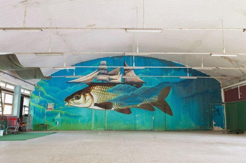 Стрит-арт от художника Lonac в Хорватии