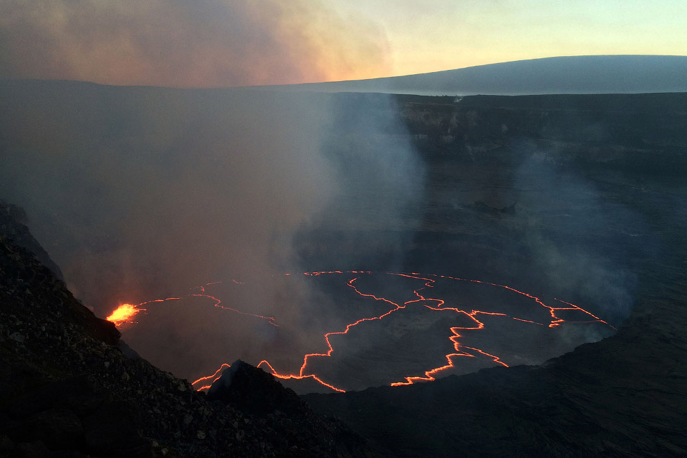 Lava flows from Kilauea volcano in Hawaii