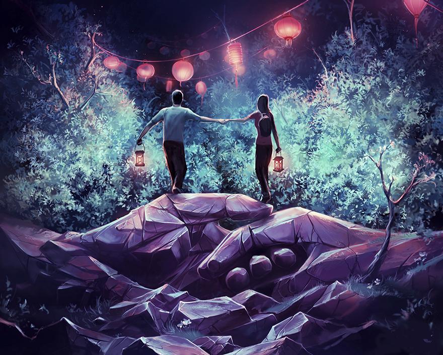 Французский художник, вдохновленный работами Хаяо Миядзаки и Тима Бертона