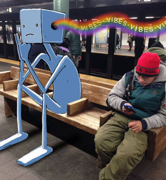 Забавные монстры в нью-йоркском метро