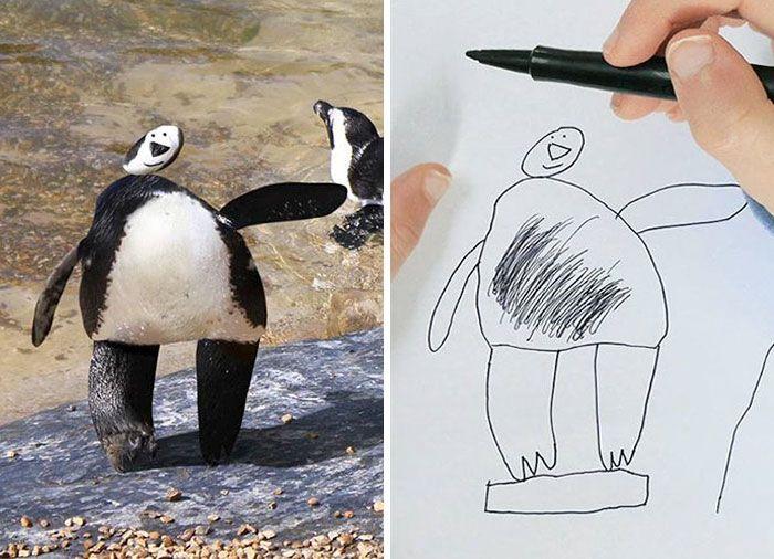 Отец фотошопит рисунки своего 6-летнего сына