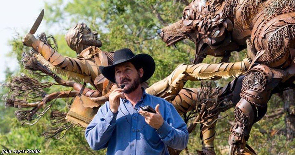 Металлические скульптуры из старой сельхозтехники от Джона Лопеса