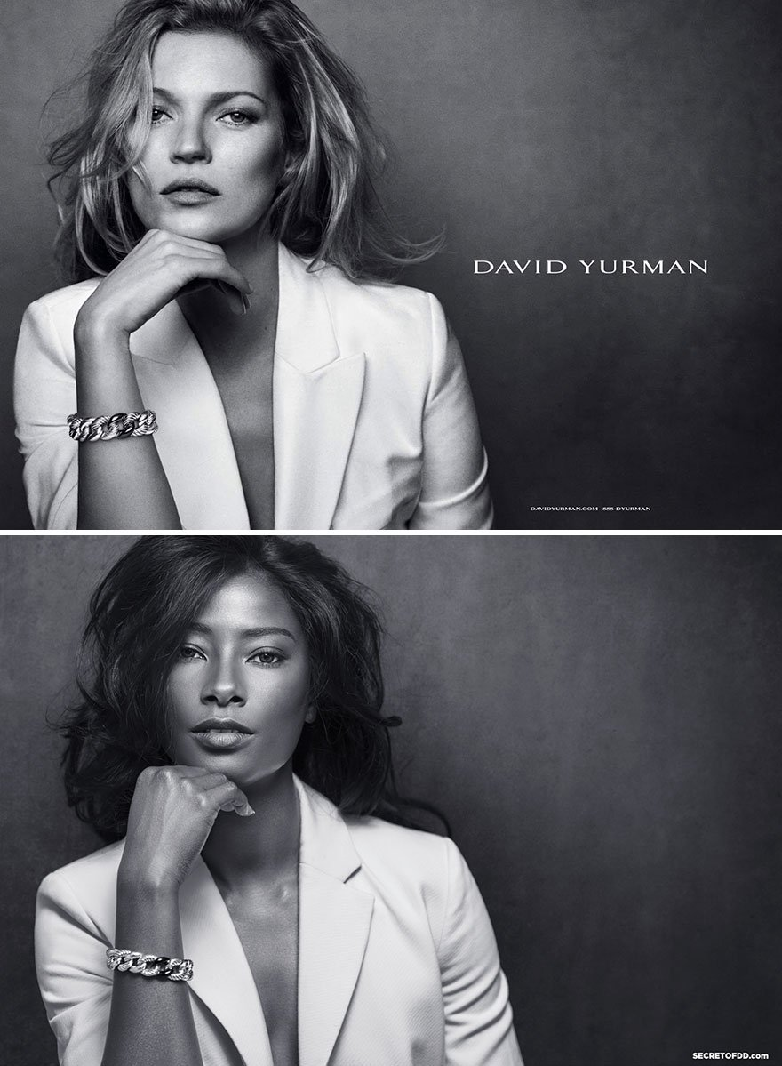 Темнокожая модель воссоздала рекламные кампании модных брендов
