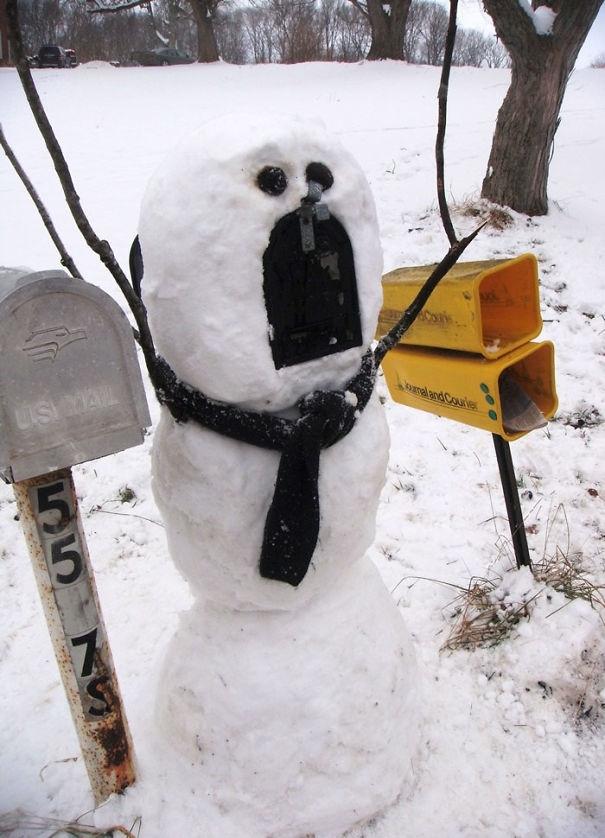 20 творческих снеговиков и снежных скульптур