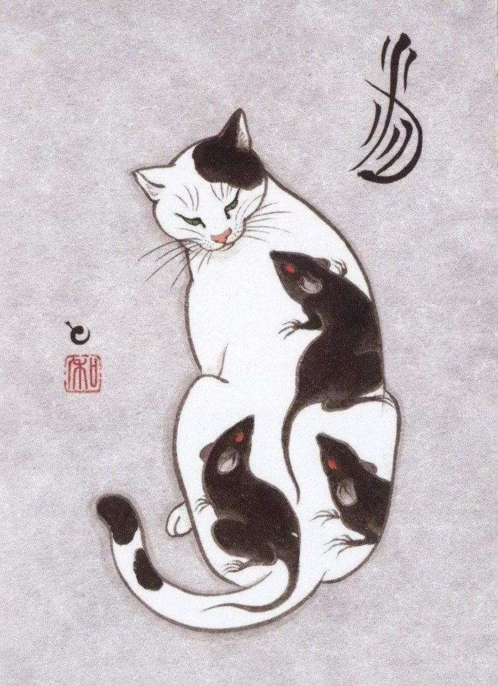 Кошки и татуировки на картинах Кадзуаки Хоритомо