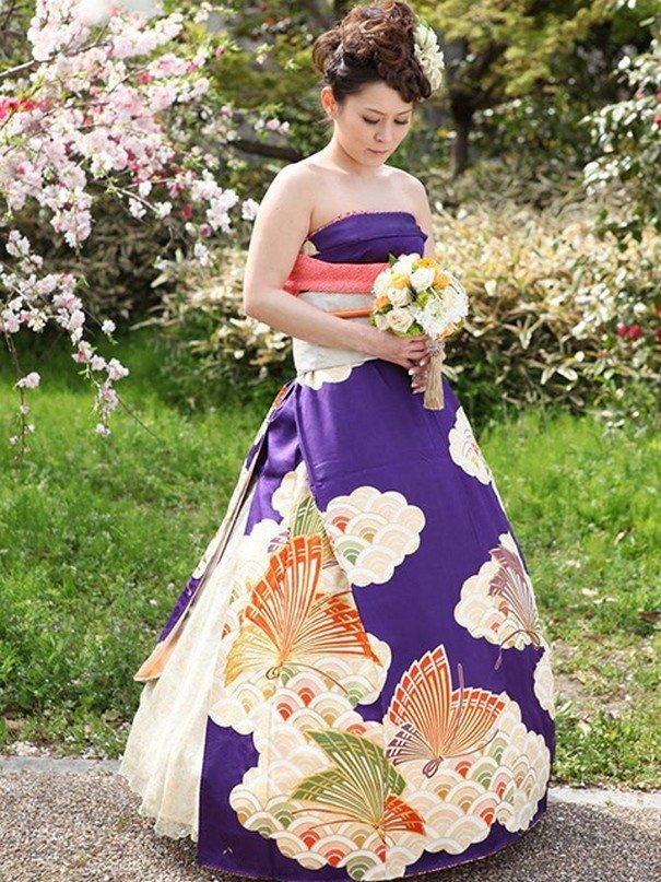 Подвенечные платья японских невест в стиле традиционного кимоно