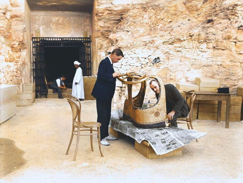 Колоризированные фотографии вскрытия гробницы Тутанхамона