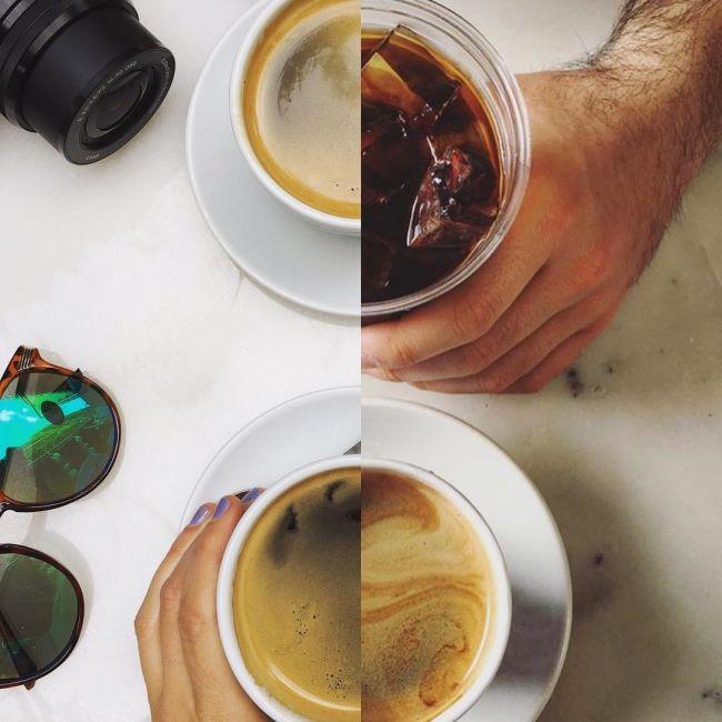 Пара делает совместные фото из половинок разных снимков