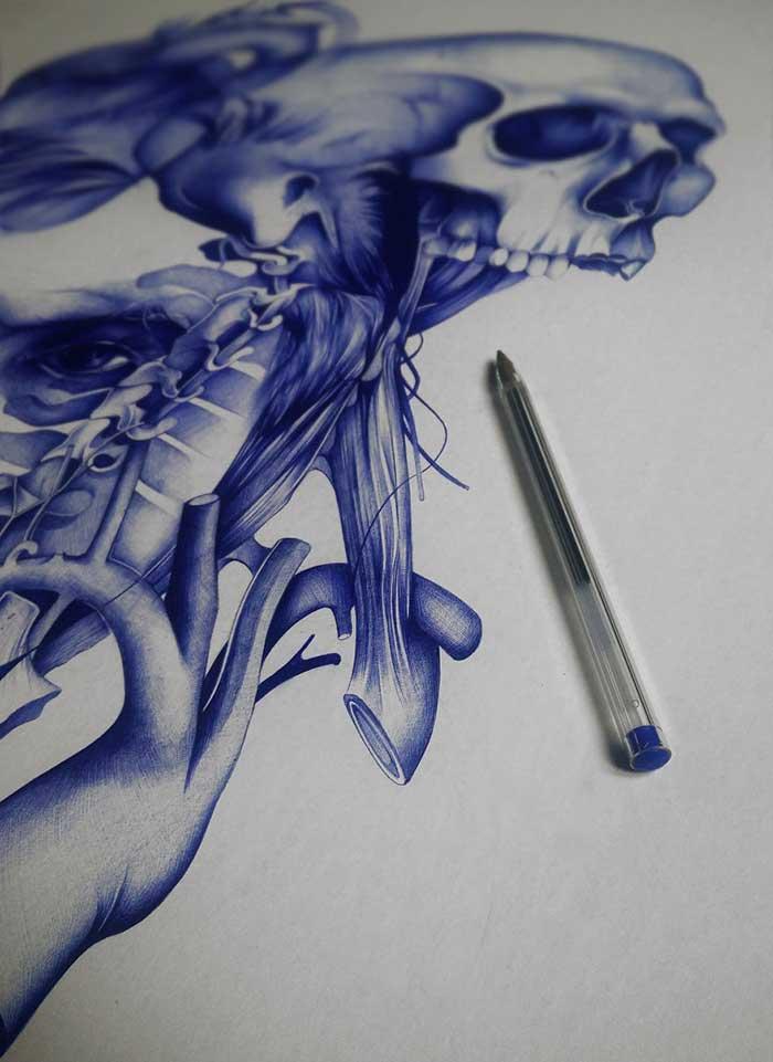 Рисунки простой шариковой ручкой