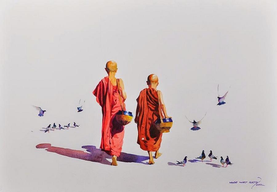 Акварель от Мьё Вин Онг: загадочная, как улыбка Будды