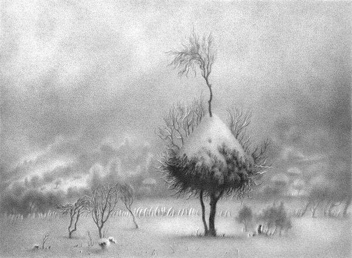 Классные зимние пейзажи, нарисованные ручкой