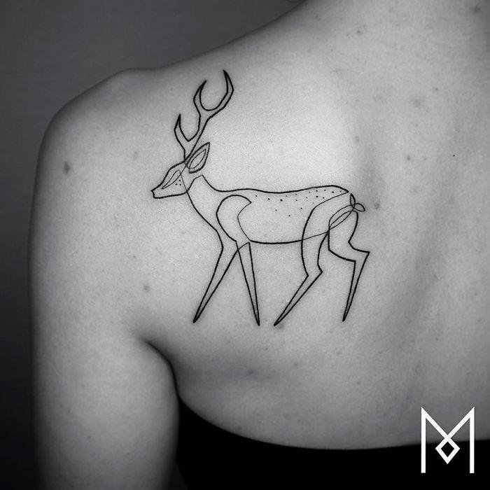 Невероятные татуировки из одной непрерывной линии