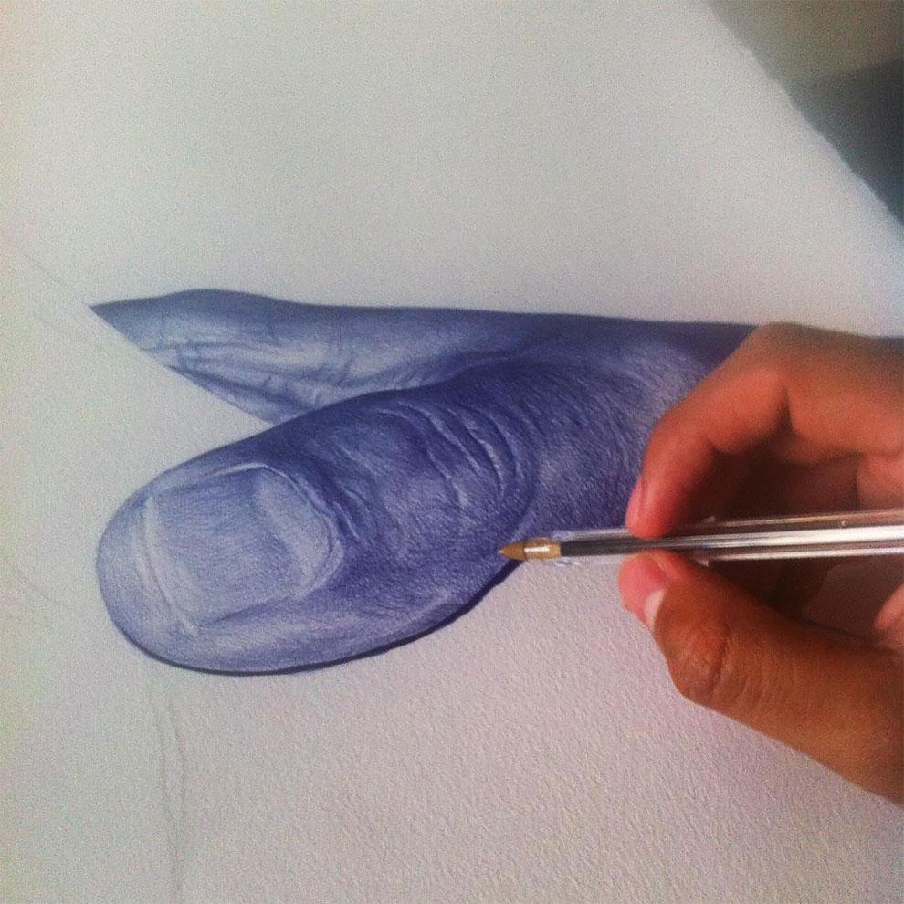 Реалистичные картины, нарисованные шариковой ручкой