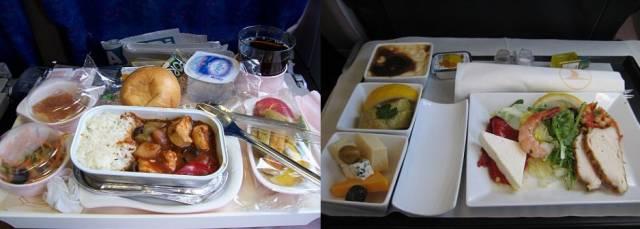 Обеды пассажиров эконом-класса и бизнес-класса в разных авиакомпаниях