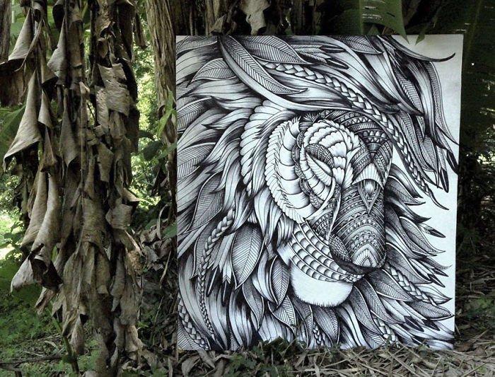 Детализированные портреты животных из узоров