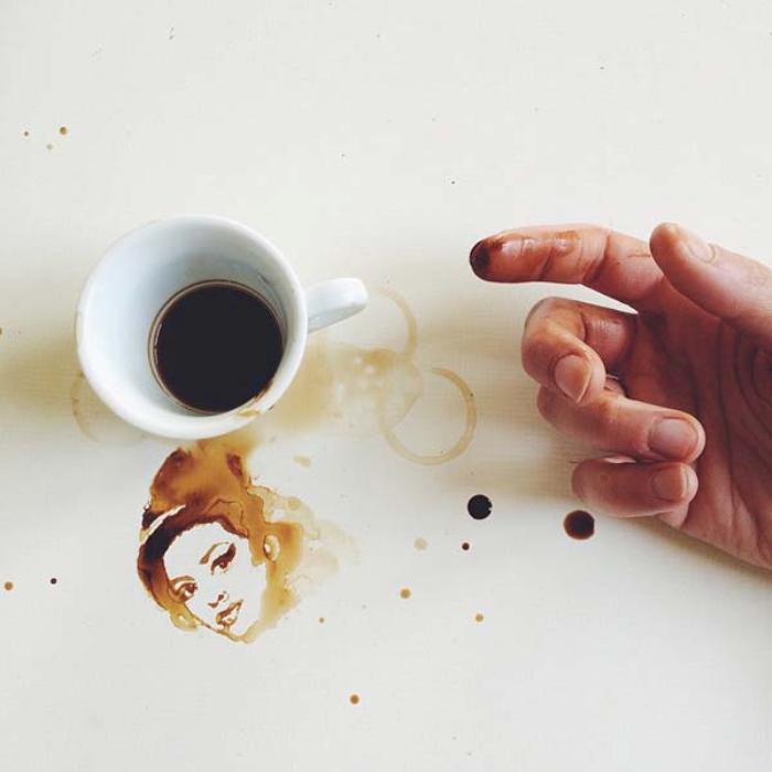 Очаровательные рисунки, созданные при помощи кофейных пятен