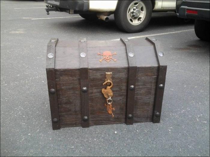 Холодильник для пива в виде пиратского сундука с сокровищами