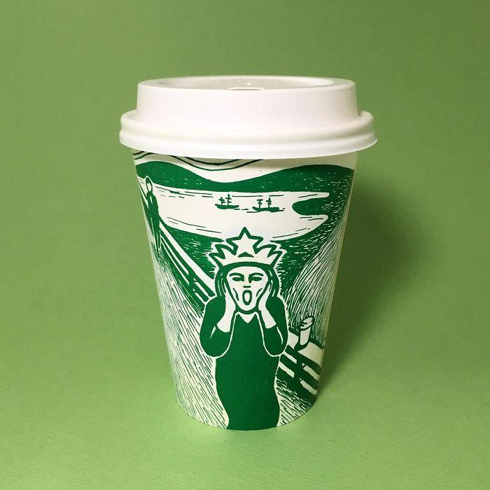 Потрясающие рисунки на чашках Starbucks