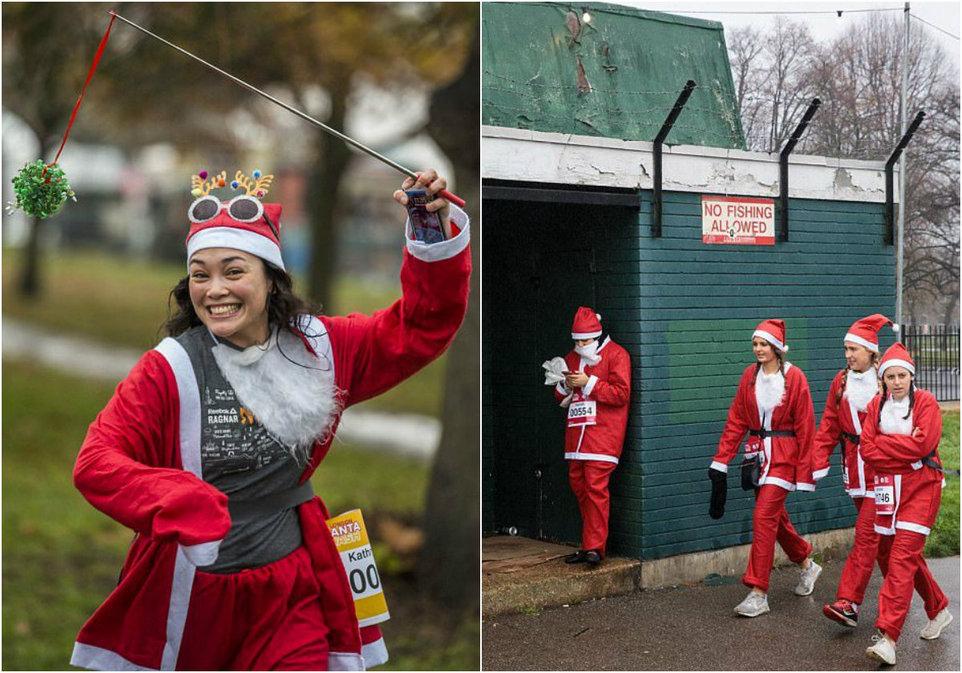 Благотворительный забег Санта-Клаусов в Лондоне