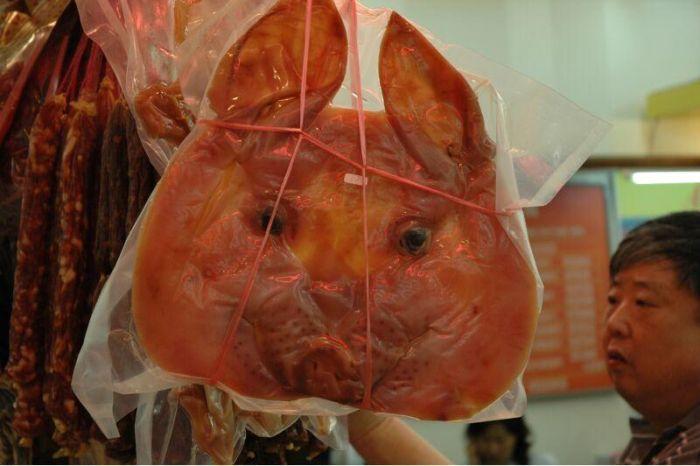 Вяленые свиные головы в Китае
