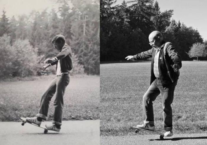 Как быстро бежит время: люди воссоздают старые фото