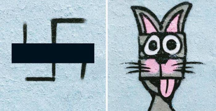 Художник превращает свастику в забавные рисунки