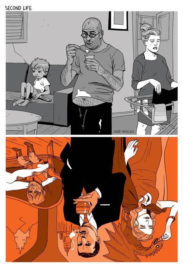 Социальные иллюстрации Асафа Хануки