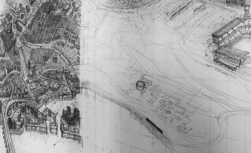 Художник рисует крупномасштабные детализированные городские пейзажи