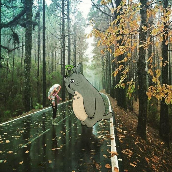 Художник добавляет различных персонажей на фотографиях незнакомцев